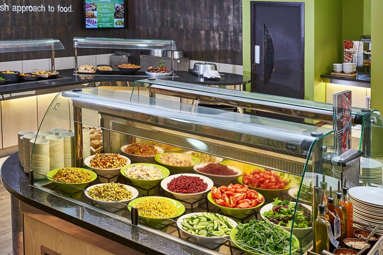 Salad bar with a wide selection of food available, catering in Milton Keynes