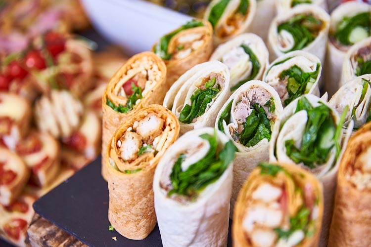 Selection of wraps complete with salads and chicken
